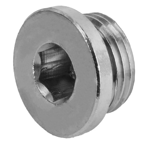 Stopfen Messing vernickelt mit 6-Kantgewinde und O-Ring