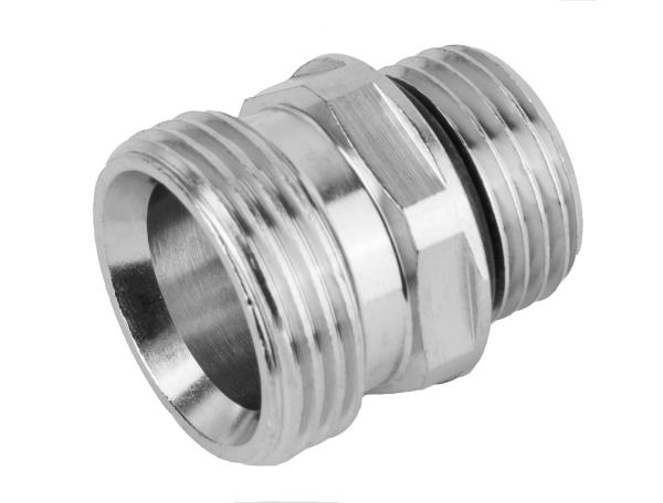 """Doppelnippel Messing vernickelt mit O-Ring, 60° Konus, 3/4"""" Außen x 1/2"""" Außen"""