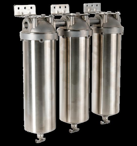 """3-stufige Filterstation aus Edelstahl V4A 2,5"""" x 10"""""""